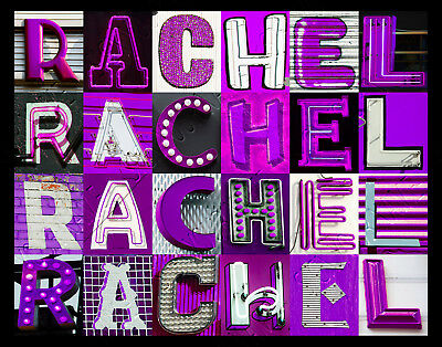 $ CDN21.38 • Buy RACHEL Name Poster Featuring Photos Of Actual PURPLE Sign Letters