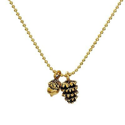 TINY PINECONE AND ACORN CHARM NECKLACE Cute Woodland Gold Tone Metal Ball Chain • 7.89$