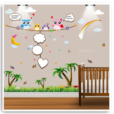 Owl Wall Stickers Animal Jungle Zoo Nursery Baby Kids Bedroom Decal Art Mural • 12.89£