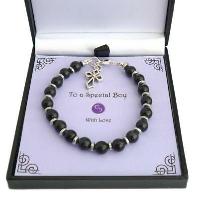 First Holy Communion Bracelet For A Boy, Gift Boxed, Also Christening Or Baptism • 9.99£