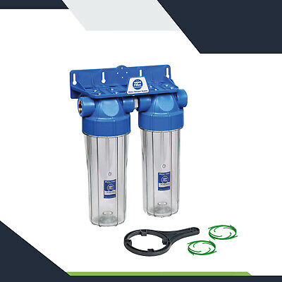 10  Aquafilter In-line Pure Water Filter System Double Two Stage FHPRCL-B-TWIN • 44.99£