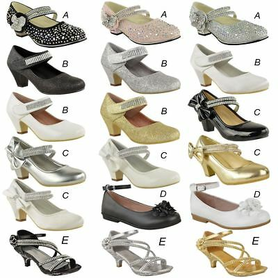 £15.99 • Buy Girls Kids Childrens Low Heel Party Wedding Mary Jane Sparkly Sandals Shoes Size