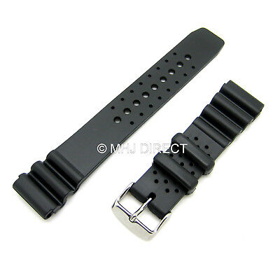 £5.89 • Buy Black Rubber Resin Divers Watch Strap Fits Citizen Seiko Type Watch [18 20 22mm]