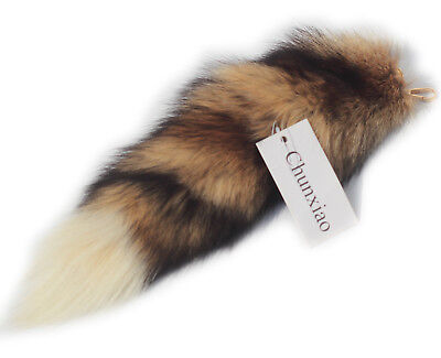 $14.98 • Buy Supper Fluffy Real Fox Tail Fur Key Chain Ring Hook Fashion Show Red White Tip