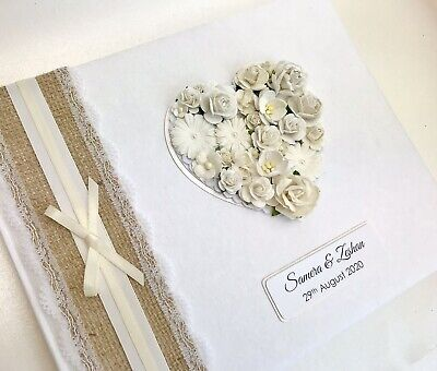 Wedding Guest Book LARGE Hessian Rustic Personalised Floral Heart & Lace BOXED • 27.99£