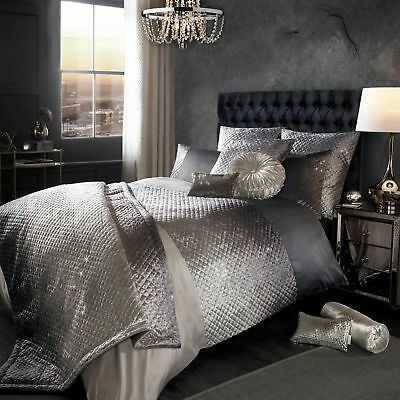 Sumptuous Kylie Minogue Gia Slate Oyster Quilted Velvet Bedding Spring/Summer 18 • 145£