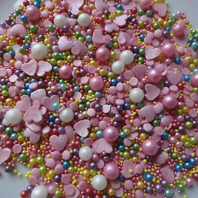 £5.25 • Buy Cupcake Sprinkles Mix Edible Cake Topper Decorations Pink Hearts Rainbow Unicorn