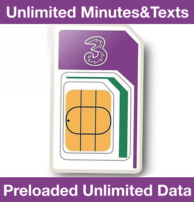 £26.99 • Buy Official Three Network Trio Sim Card Preloaded Unlimited Data & Minutes & Texts