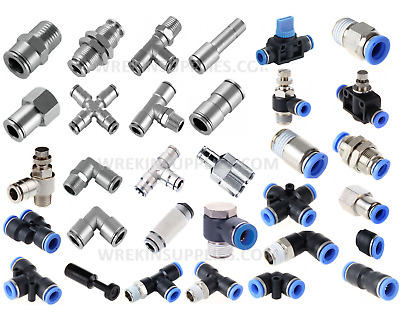 Metal Pneumatic Push In Fittings Hose Tube Water Air Speed Fit Join Adaptor Tee • 0.99£