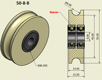 £11 • Buy 50mm Nylon Pulley Wheel With Ball Bearings Various Groove Size Precisely Turned.
