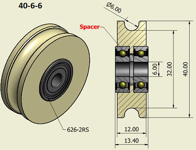 £11 • Buy 40mm Nylon Pulley Wheel With Ball Bearings Various Groove Size Precisely Turned.
