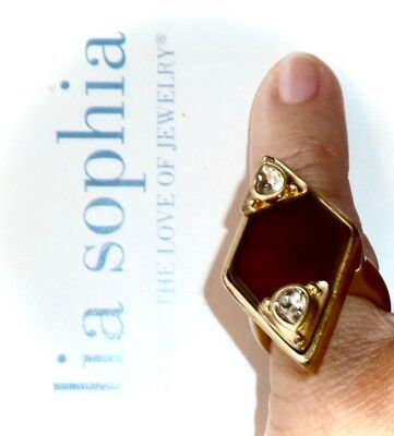 $ CDN23.71 • Buy Lia Sophia Red Carpet *cat's Eye Ring* Brown & Clear Crystals - Sz 6 - $150/rare