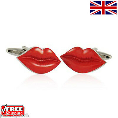Cool Men's Women's Dress Sexy Red Lips Cufflinks Novelty Design Cuff-links • 5.49£