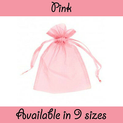 £4.19 • Buy Pink Organza Gift Pouch Wedding Favour Jewellery Bags From 1 - 500 In 9 Sizes!