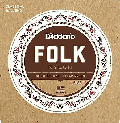 $ CDN29.64 • Buy D'Addario EJ33 Folk Nylon Guitar Strings, Ball End, 80/20 Bronze
