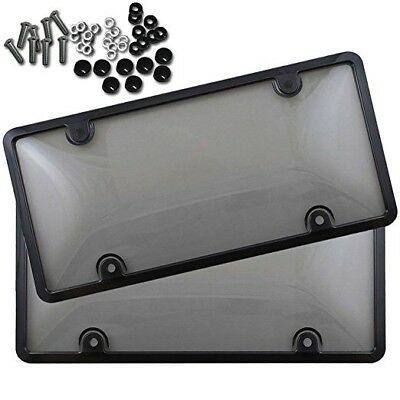 $10.95 • Buy 2x Clear Tinted Smoked License Plate Tag Shield Cover And Frame Auto