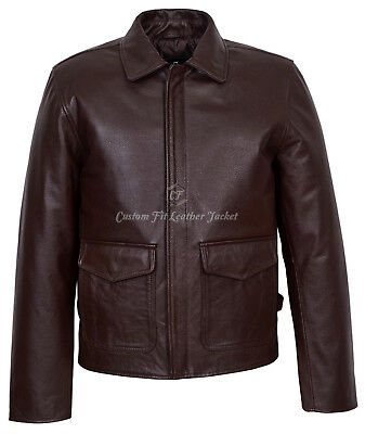 Men's Leather Jacket Brown 100% REAL LEATHER Indiana Jones Movie Inspired  • 120£