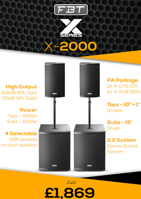 FBT X-LITE X-2000 PA PACKAGE With 5 Year Warranty • 1,869£