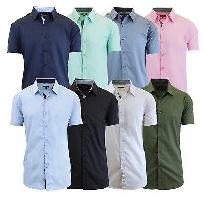 $12.99 • Buy Mens Short Sleeve Dress Shirts Button Down Slim Fit Casual Solid Colors NWT NEW
