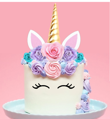 AU11.21 • Buy Unicorn Horn Ears Pink Roses EDIBLE 2D Wafer Cake Topper Decoration #151 Not 3D