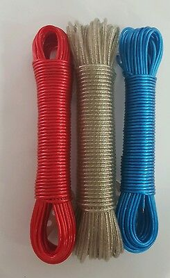 Strong  Clothes  Metal Line Washing Line Plastic Coded  Garden Camping Cord 20m • 2.99£