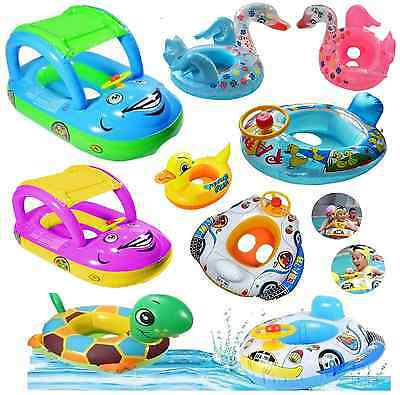 Kids Baby ToddlerSwimming Pool SwimSeatFloat Boat Ring With Wheel  And Horn • 8.69£