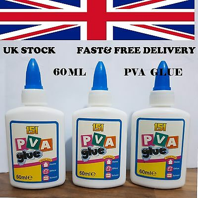 PVA Glue 60ml General Purpose Adhesive Paper Cardboard Wood Craft Home School • 4.99£