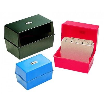 £7.69 • Buy NEW CARD RECORD INDEX BOX BOXES PLASTIC 5x3, 6x4, 8x5 SIZES BLACK / BLUE / RED