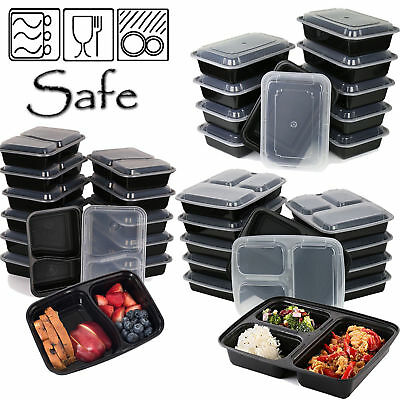 Meal Prep Food Containers Bpa Free Plastic 1,2,3 Compartment Lunch Box Lids • 8.98£