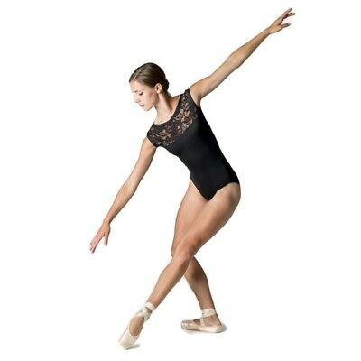 DANSEZ Dans-ez Dance Lace Boatneck Sleeveless Leotard Black Microfibre SALE • 8.99£