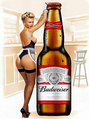Budweiser Pin Up Girl, Vintage Retro Metal Sign Plaque, Novelty Gift, Bar/Pub • 4.99£