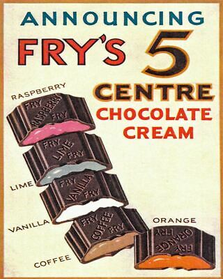 £4.99 • Buy Frys 5 Centre Chocolate Cream Advert VINTAGE  METAL TIN STYLE SIGN WALL PLAQUE