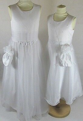 £59.99 • Buy Girls Holy Communion Long Dress White Special Occasion Formal Bag Wedding Party