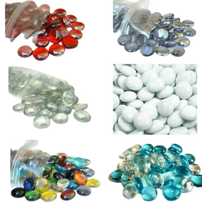 £5.25 • Buy Round Glass PEBBLES Stones Nuggets Beads Gems Flat CHOOSE THE COLOURS & QUANTITY