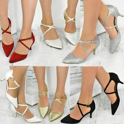 Womens Ladies Low Kitten Heel Party Prom Strappy Court Shoes Bridal Sandals Size • 18.99£