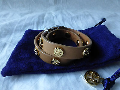 b8508ce55cf4 Tory Burch Double Wrap Logo Stud Royal Tan Leather Cuff Bracelet Reversible  NWT • 71.99