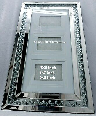 Three 3 Picture Wall Hung Sparkly Silver Mirrored Photo Frame Floating Crystal • 79£