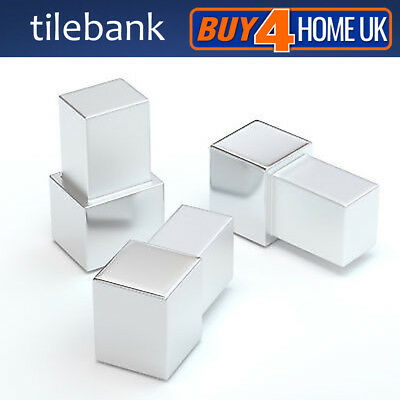 Square Tile Trim Aluminium Corner Piece Chrome Blocks For  Square Box Trims • 2.89£
