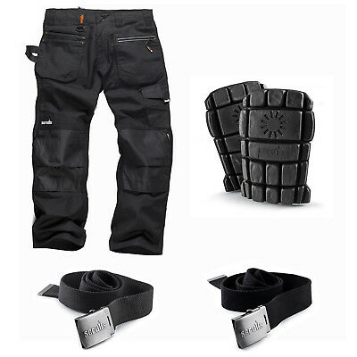 Scruffs Ripstop Multi-Pocket Work Trousers Black With Knee Pads & Belt Options • 33.95£
