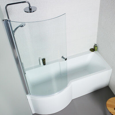 P Shape BATH With Screen & Side Panel Left & Right Handed 1700 X 850 Mm Shower • 213.99£