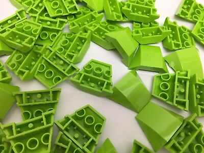 LEGO 64225 - NEW Lime GREEN Triple Curved Wedges With No Studs / 2 Per Order • 1.49£
