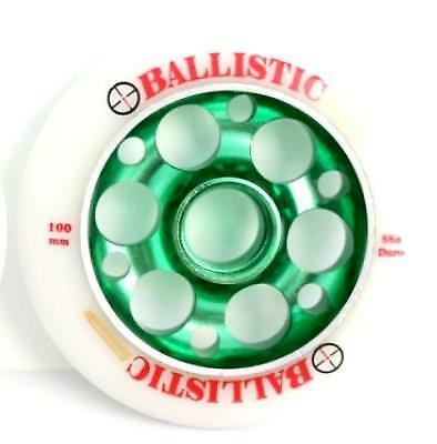 Ballistic Scooter Wheel -  Alloy Metal Core - 100mm - 88A -  Anodised GREEN • 14.11£