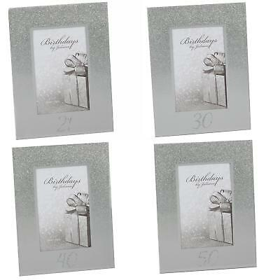 £5.79 • Buy Silver Glitter & Mirror 4 X6  Photo Frame With Number - Choose Design