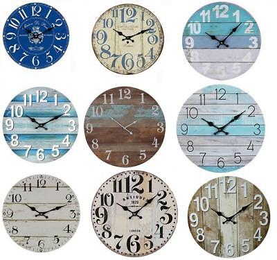 AU28.95 • Buy WALL CLOCK Boards Teal Beach Kitchen Home Office Rustic French Bold Numbers 34cm