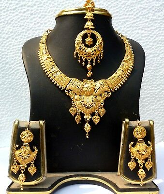 $11.69 • Buy Indian Gold Plated Wedding Designer Bridal Necklace Earrings Tikka Jewelry Set B
