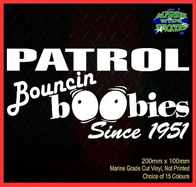 AU6.90 • Buy PATROL Stickers Accessories Ute Car MX Funny Decal BOUNCE BOOBIES 200mm