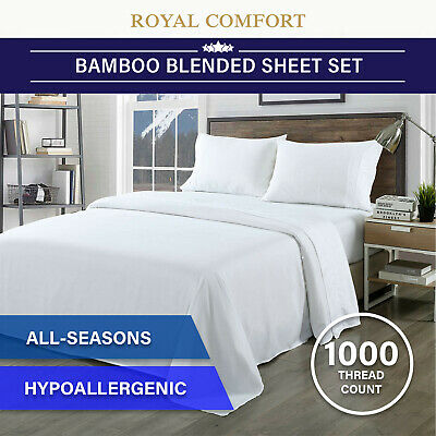 AU47.95 • Buy Royal Comfort Bamboo Blended Sheet & Pillowcases Set 1000TC Ultra Soft Bedding