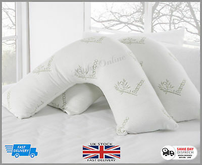 Luxury Bamboo V Shaped Memory Foam Pillow + Free Pillow Case **Special Offer** • 18.95£