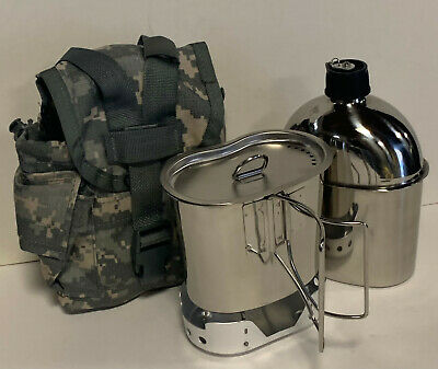 $ CDN63.22 • Buy G.I.Style 1qt. Polished Stainless Steel Canteen/Cup/Lid/ALUMINUM Stove And Cover