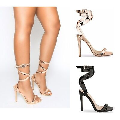 £17.99 • Buy Womens Ladies High Stiletto Heel Diamante Buckle Strappy Party Sandals Shoes